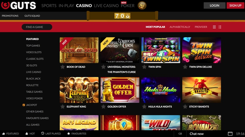 Guts Casino Screenshot